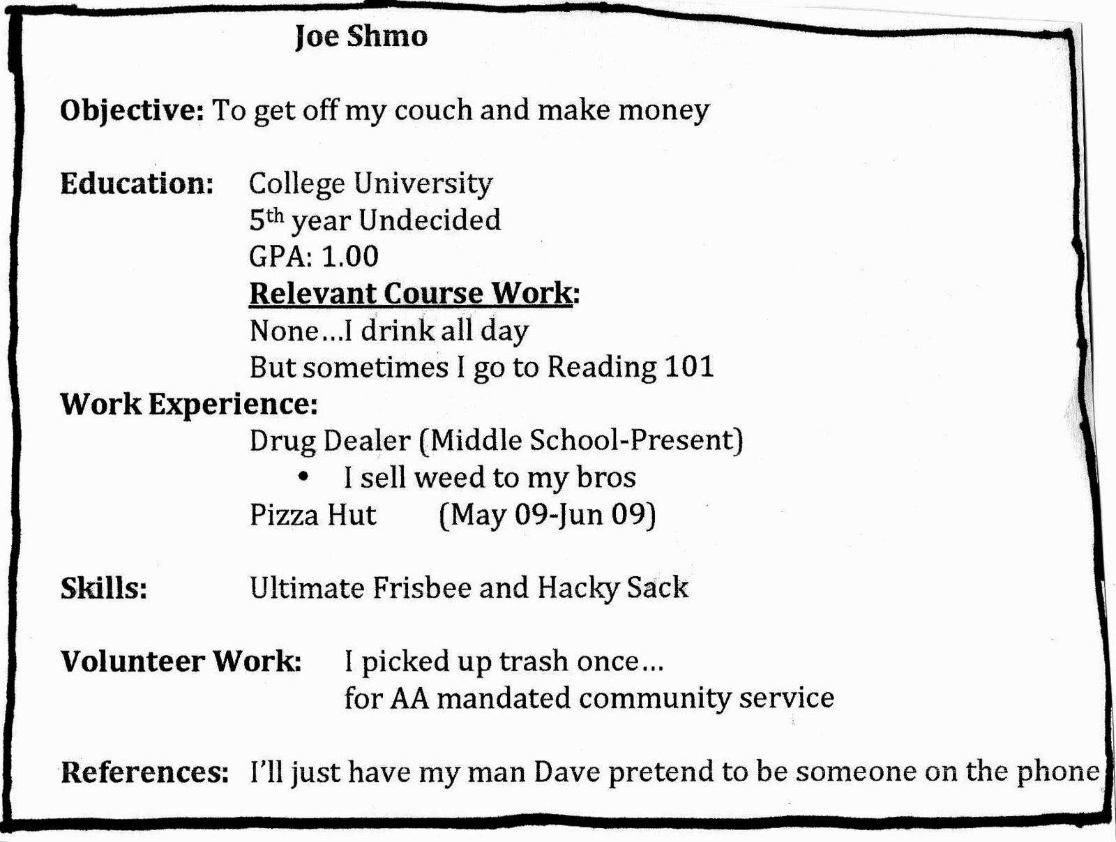 how does a resume supposed to look 05052017